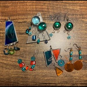Handmade stained glass jewelry lot